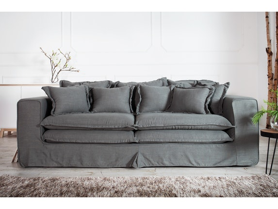 sofa wolke 230 cm grau leinen interior home. Black Bedroom Furniture Sets. Home Design Ideas