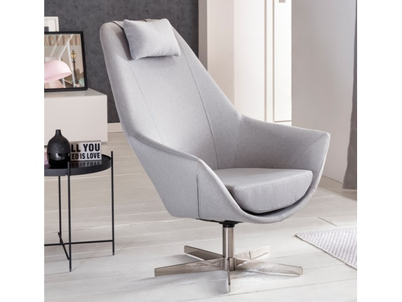 sessel siosco mit webstoff hellgrau salesfever. Black Bedroom Furniture Sets. Home Design Ideas