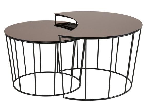 beistelltische sunmo bronze schwarz lackiert 2er set. Black Bedroom Furniture Sets. Home Design Ideas