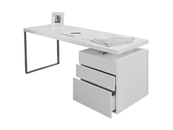 Schreibtisch white line mit container 180 x 85 cm for Schreibtisch 85 cm hoch