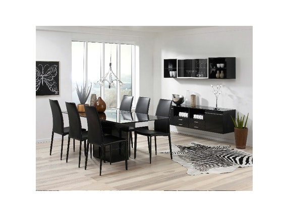 esstisch grazie ausziehbar schwarz glas synoun. Black Bedroom Furniture Sets. Home Design Ideas