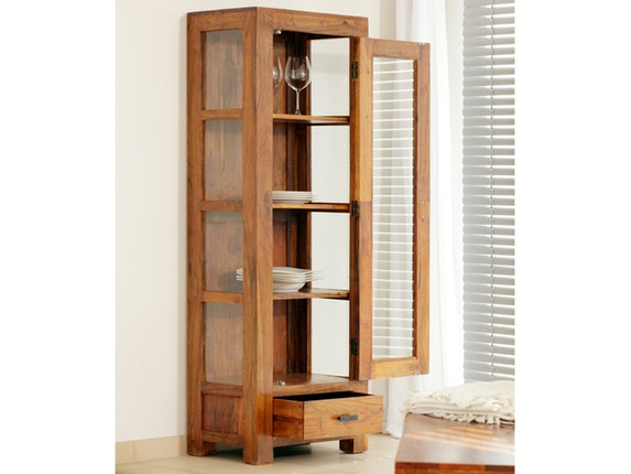vitrine guru 1 glast r akazie honig wolf m bel. Black Bedroom Furniture Sets. Home Design Ideas