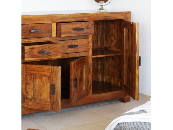 sideboard guru mit 4 t ren akazie honig wolf m bel. Black Bedroom Furniture Sets. Home Design Ideas