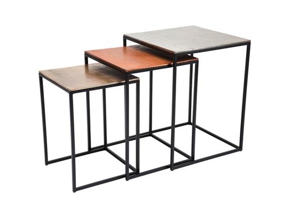 Beistelltisch loft square vintage 3er set kare design for Beistelltisch 3er set rund
