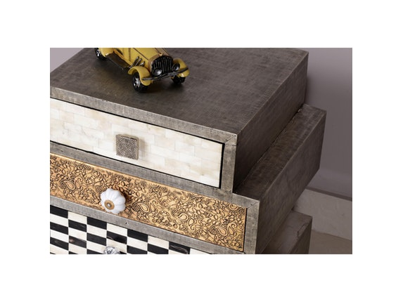 kommode metal bone 4 schubladen auf rollen. Black Bedroom Furniture Sets. Home Design Ideas