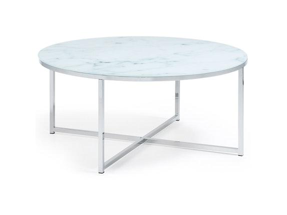 couchtisch vivid glasplatte marmoreffekt rund 80 cm safurn. Black Bedroom Furniture Sets. Home Design Ideas
