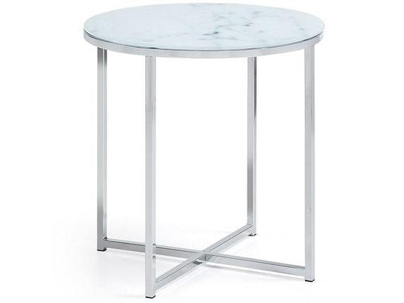 beistelltisch vivid glasplatte marmoreffekt rund 50 cm safurn. Black Bedroom Furniture Sets. Home Design Ideas