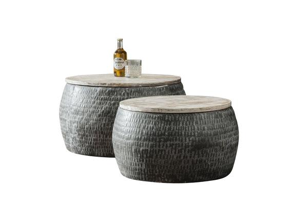 couchtisch leni rund patiniert 2er set 50 cm 60 cm msp furniture. Black Bedroom Furniture Sets. Home Design Ideas