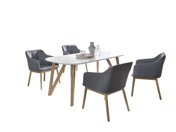 Tischgruppe Anthrazit 140 X 90 Cm Aino 5tlg. Tisch U0026 4 Stühle 13817 Von  SalesFever