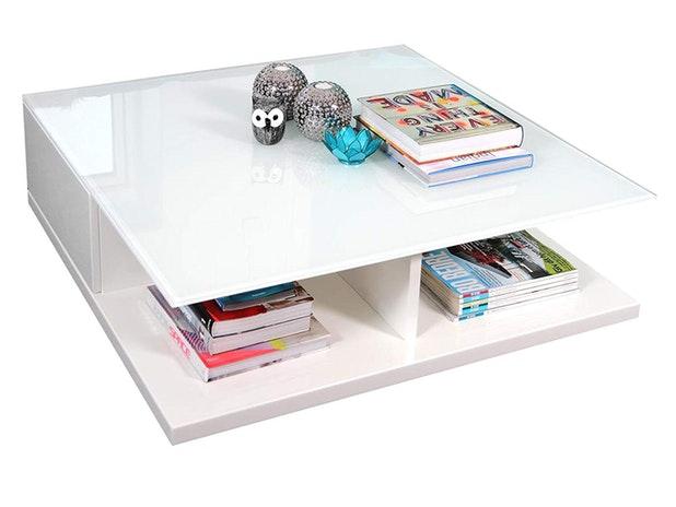 Couchtisch Clara Mit Schublade Weiß 100x100 Cm Synoun Salesfeverde