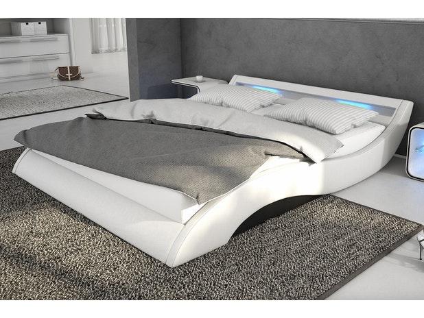 polsterbett seducce 180x200 cm wei schwarz mit led. Black Bedroom Furniture Sets. Home Design Ideas