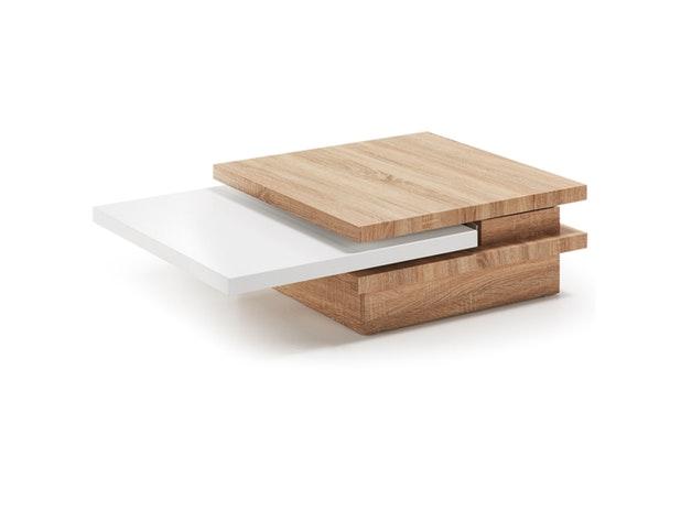 Couchtisch Yuki 70x70 Cm Drehbare Platten Naturweiß Safurn