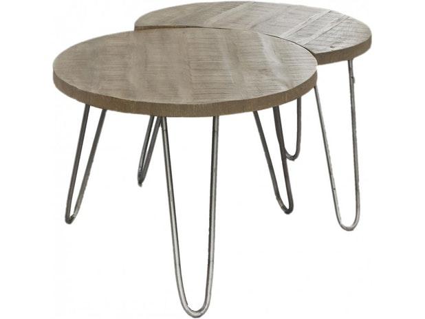 Couchtisch Jan Rund 60 Cm 2 Satz Antik Weiss Msp Furniture