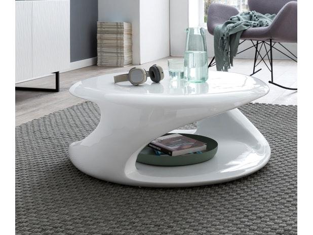 Design Couchtisch weiss hochglanz rund 80 cm Izan