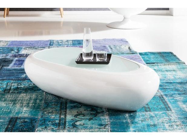 Design Couchtisch Weiss Hochglanz Oval 115 Cm