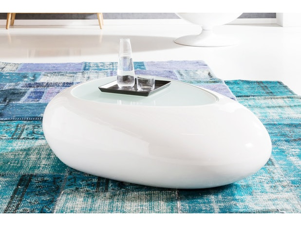 Design Couchtisch Glassplatte Weiss Hochglanz Oval 115 Cm