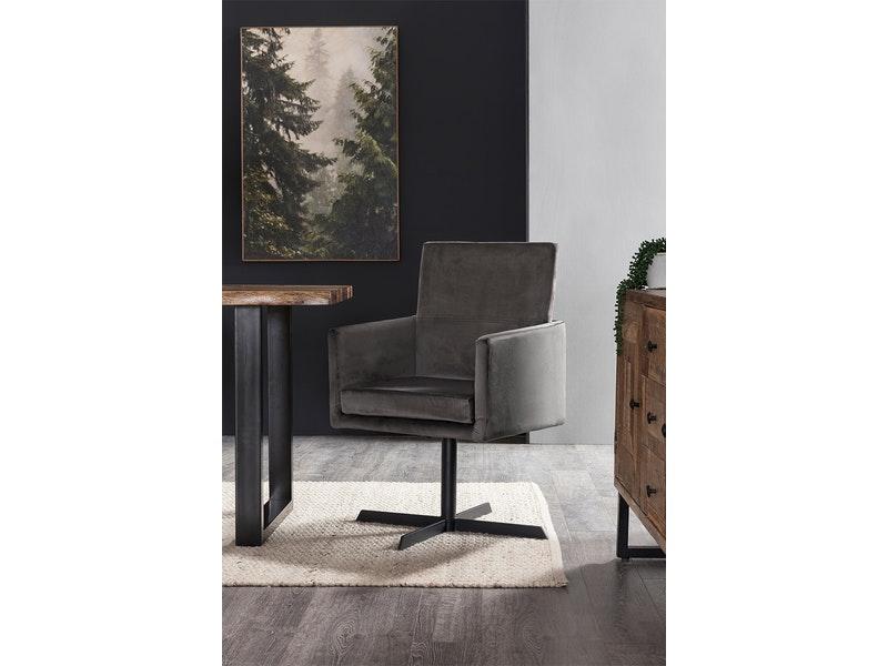 SalesFever® Esszimmerstuhl anthrazit mit Armlehnen Stoff Esszimmer Sessel GOLIA