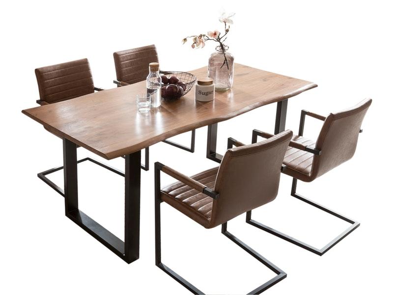 SalesFever® Baumkantentisch Essgruppe Stühle hellbraun160 cm massiv NUSSBAUM 5tlg ALESSIA
