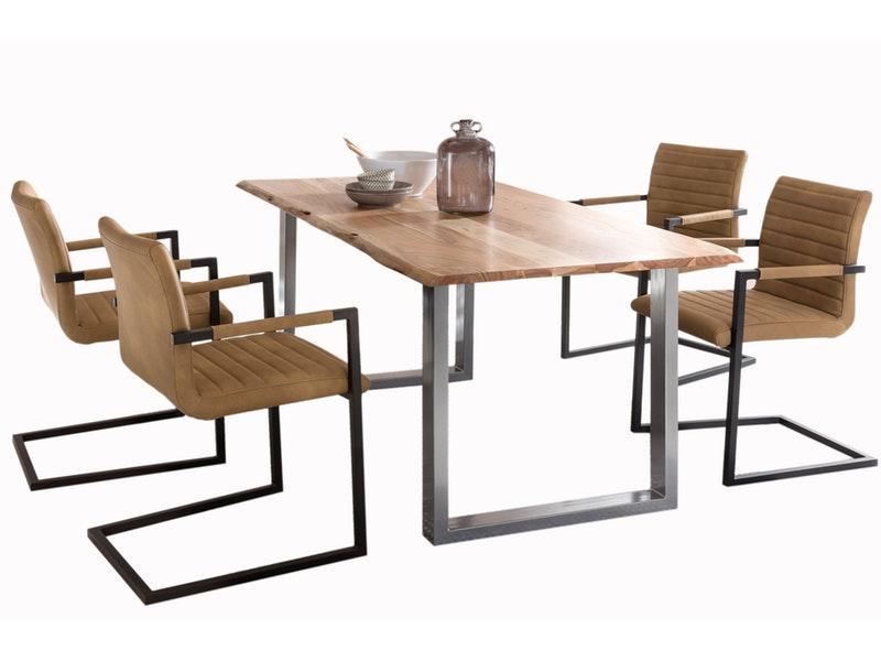 SalesFever® Baumkantentisch Essgruppe Stühle café latte 160 cm massiv NATUR 5tlg ALESSIA