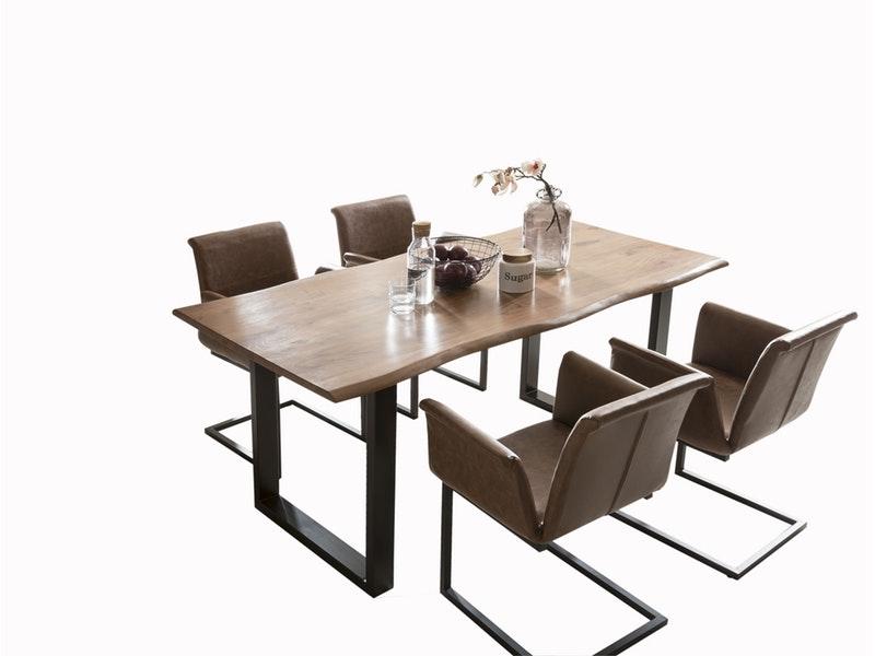 SalesFever® Baumkantentisch Essgruppe Stühle hellbraun 160 cm massiv NUSSBAUM 5tlg GAIA