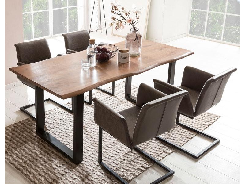 SalesFever® Baumkantentisch Essgruppe Stühle dunkelbraun 160 cm massiv NUSSBAUM 5tlg GAIA