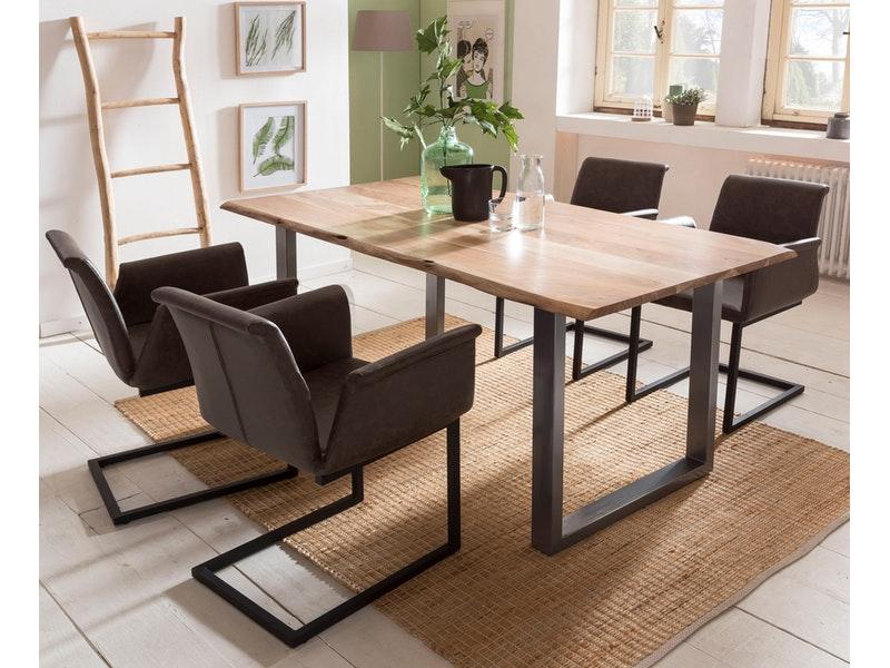 SalesFever® Baumkantentisch Essgruppe Stühle dunkelbraun 160 cm massiv NATUR 5tlg GAIA