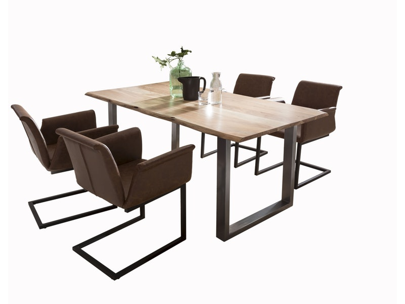 SalesFever® Baumkantentisch Essgruppe Stühle hellbraun 160 cm massiv NATUR 5tlg GAIA