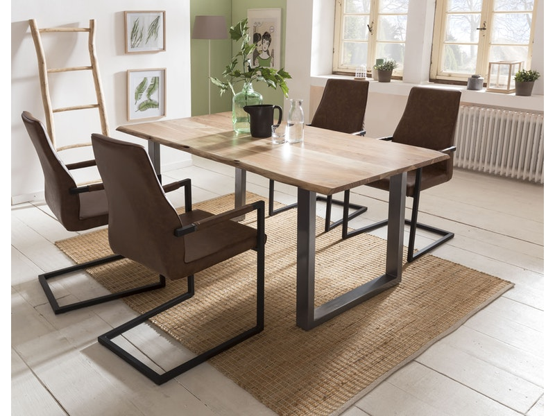 SalesFever® Baumkantentisch Essgruppe Stühle hellbraun 160 cm massiv NATUR 5tlg GIADA