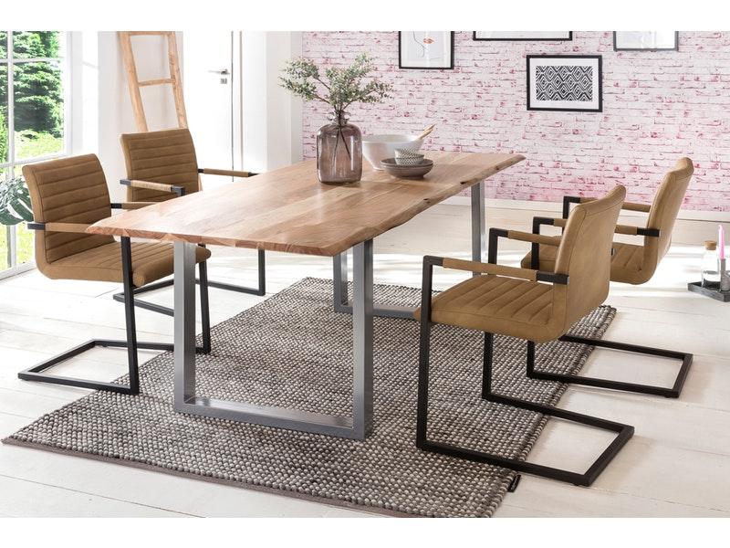 SalesFever® Baumkantentisch Essgruppe Stühle café latte 180 cm massiv NATUR 5tlg ALESSIA