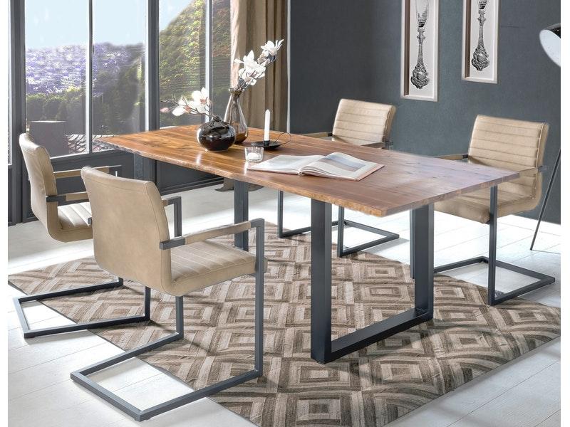 SalesFever® Baumkantentisch Essgruppe Stühle café latte 180 cm massiv COGNAC 5tlg ALESSIA