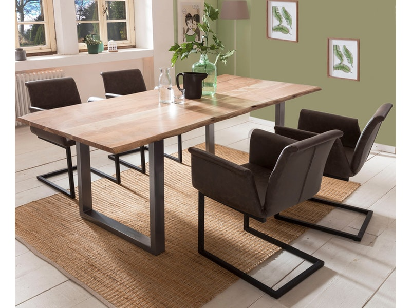 SalesFever® Baumkantentisch Essgruppe Stühle dunkelbraun 180 cm massiv NATUR 5tlg GAIA