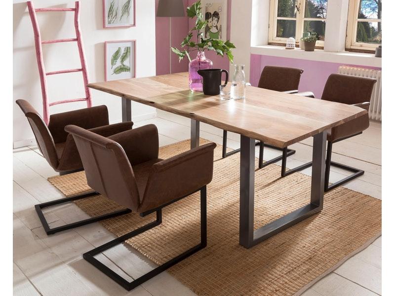 SalesFever® Baumkantentisch Essgruppe Stühle hellbraun 180 cm massiv NATUR 5tlg GAIA