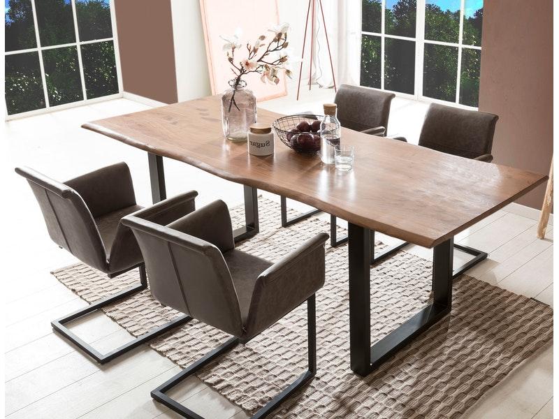 SalesFever® Baumkantentisch Essgruppe Stühle dunkelbraun 180 cm massiv NUSSBAUM 5tlg GAIA