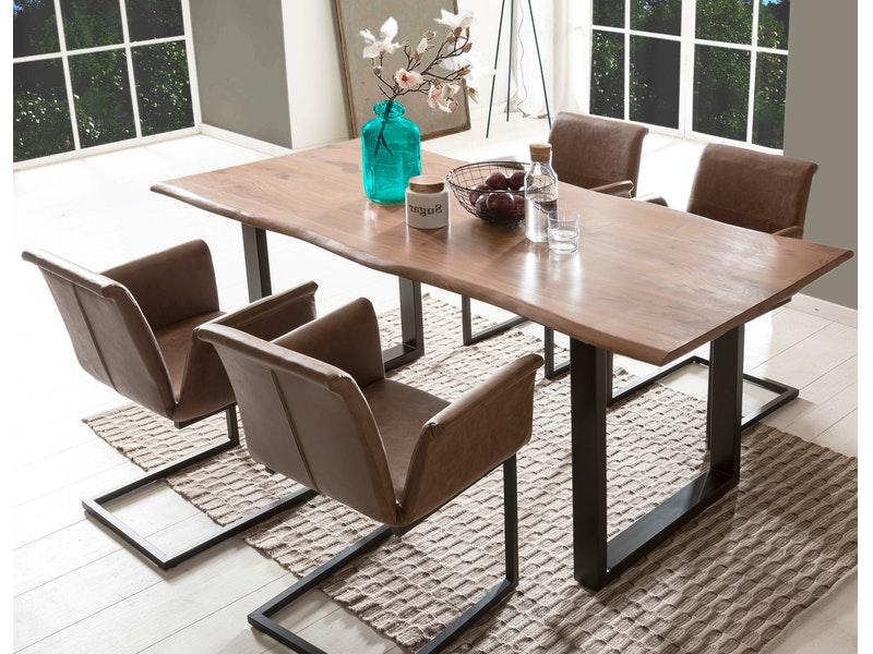SalesFever® Baumkantentisch Essgruppe Stühle hellbraun 180 cm massiv NUSSBAUM 5tlg GAIA