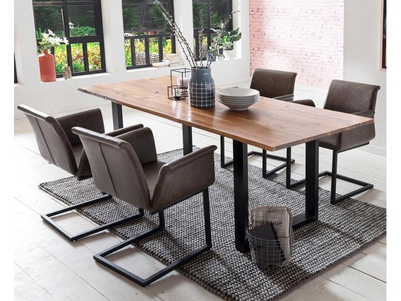 SalesFever® Baumkantentisch Essgruppe Stühle dunkelbraun 180 cm massiv COGNAC 5tlg GAIA