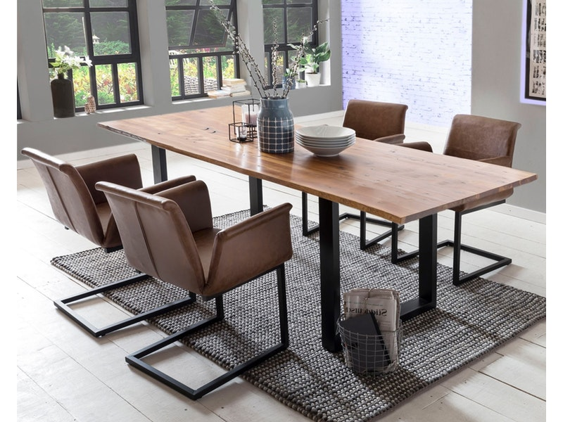 SalesFever® Baumkantentisch Essgruppe Stühle hellbraun 180 cm massiv COGNAC 5tlg GAIA