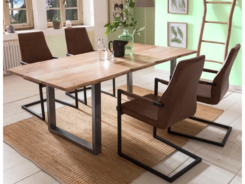 SalesFever® Baumkantentisch Essgruppe Stühle hellbraun 180 cm massiv NATUR 5tlg GIADA