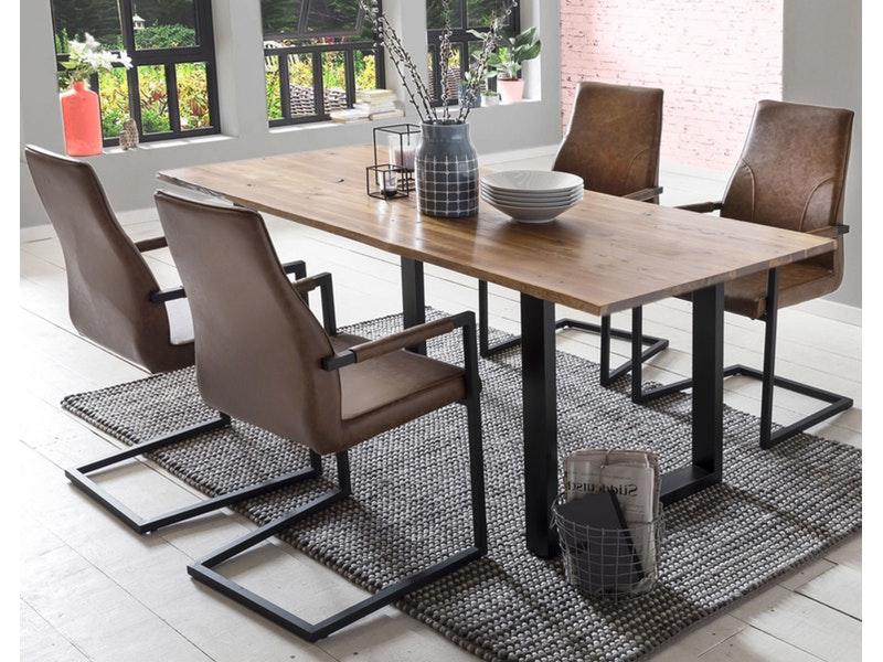 SalesFever® Baumkantentisch Essgruppe Stühle hellbraun 180 cm massiv COGNAC 5tlg GIADA