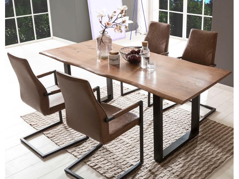 SalesFever® Baumkantentisch Essgruppe Stühle hellbraun 180 cm massiv NUSSBAUM 5tlg GIADA