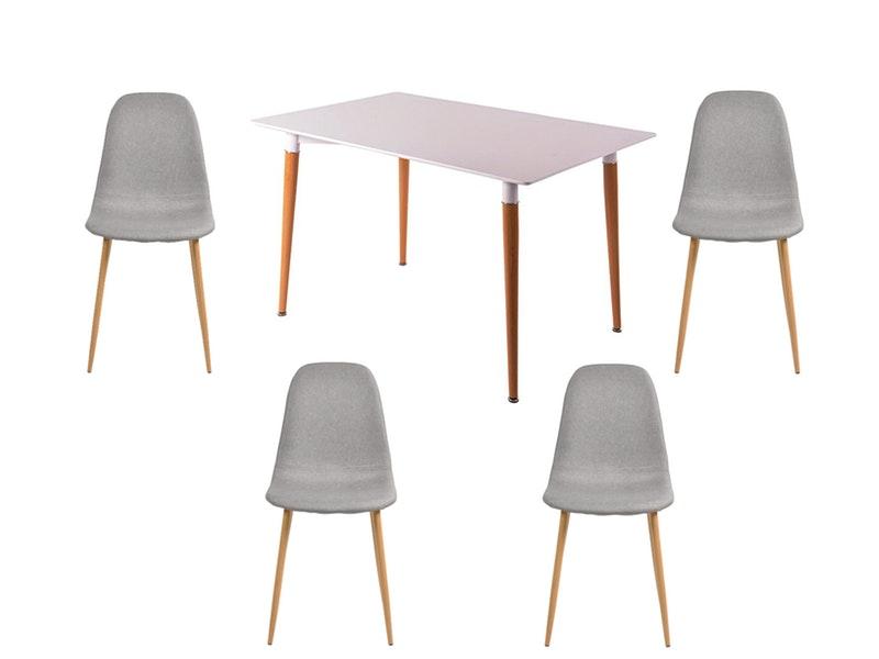 SalesFever® Essgruppe Grau 5tlg. Tisch 120x80 cm mit 4 Stühlen