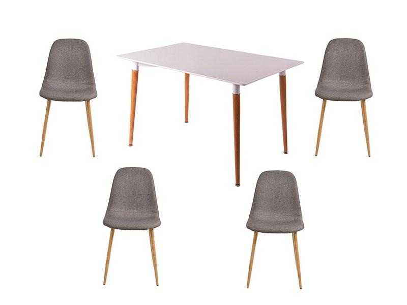 SalesFever® Essgruppe Dunkelgrau 5tlg. Tisch 120x80 cm mit 4 Stühlen