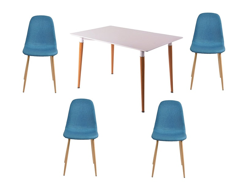 SalesFever® Essgruppe Blau 5tlg. Tisch 120x80 cm mit 4 Stühlen