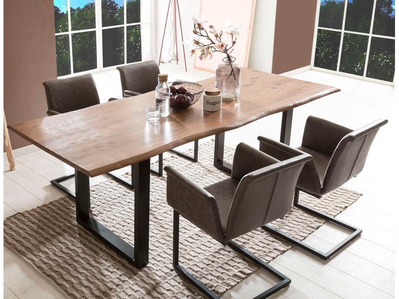 SalesFever® Baumkantentisch Essgruppe Stühle dunkelbraun 200 cm massiv NUSSBAUM 5tlg GAIA