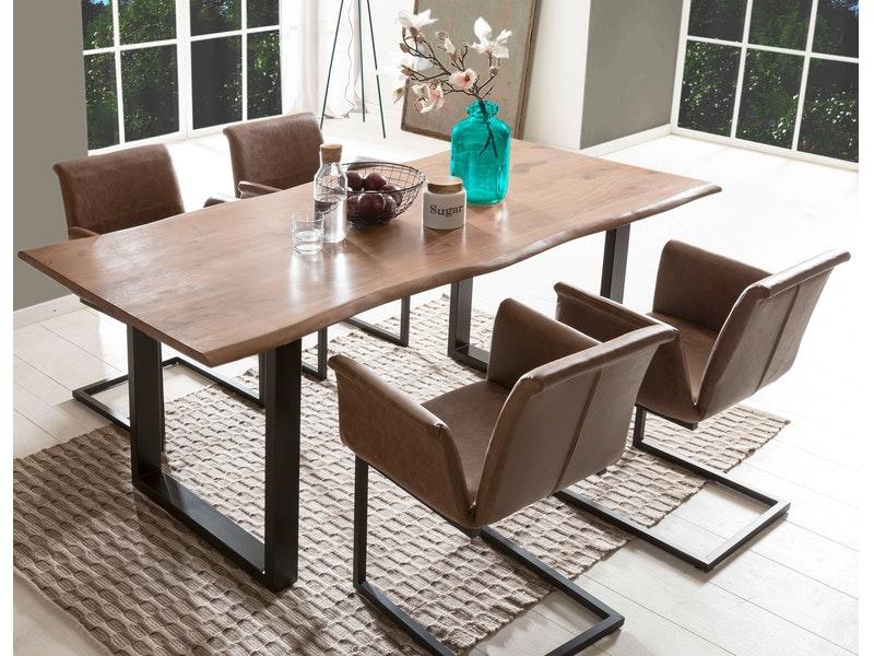 SalesFever® Baumkantentisch Essgruppe Stühle hellbraun 200 cm massiv NUSSBAUM 5tlg GAIA