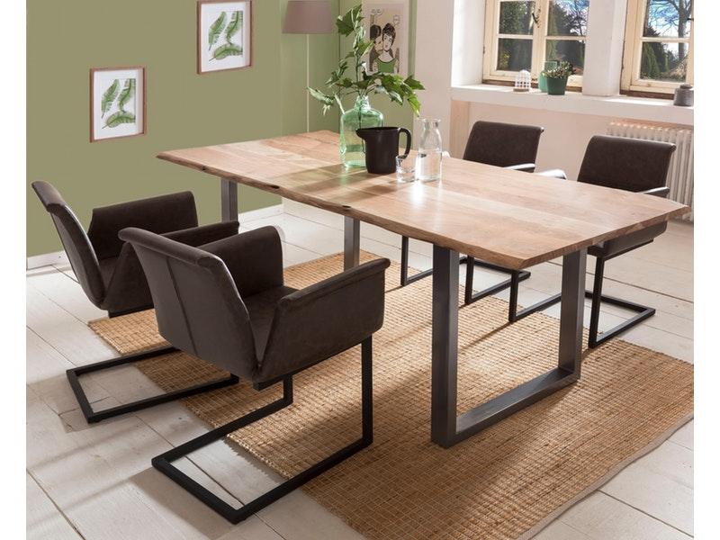 SalesFever® Baumkantentisch Essgruppe Stühle dunkelbraun 200 cm massiv NATUR 5tlg GAIA