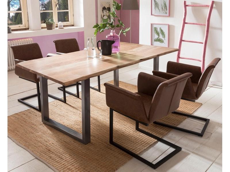 SalesFever® Baumkantentisch Essgruppe Stühle hellbraun 200 cm massiv NATUR 5tlg GAIA