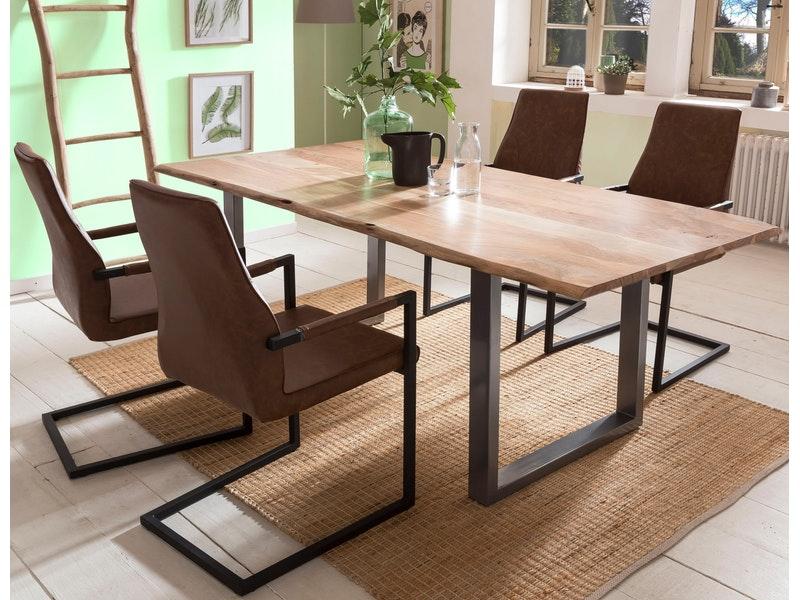 SalesFever® Baumkantentisch Essgruppe Stühle hellbraun 200 cm massiv NATUR 5tlg GIADA
