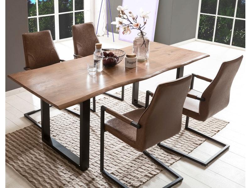 SalesFever® Baumkantentisch Essgruppe Stühle hellbraun 200 cm massiv NUSSBAUM 5tlg GIADA