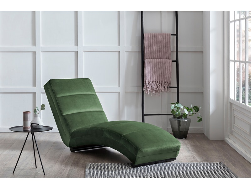 SalesFever® Designer Relaxliege waldgrün aus Samt Sento