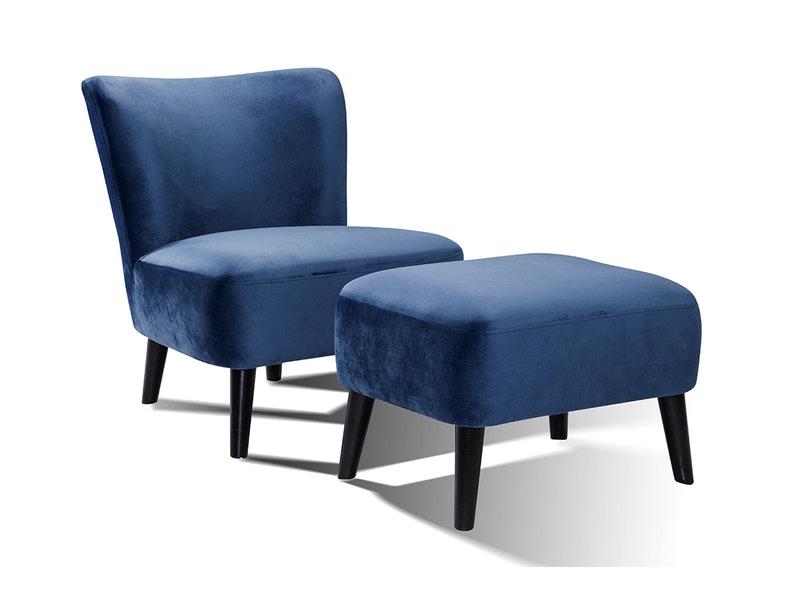 SalesFever® Sessel inkl. Hocker blau Wohnzimmer-Set Retro Samt Calypso